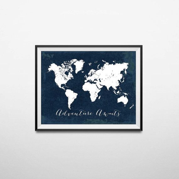 Printable adventure awaits world map poster navy travel quote print find this pin and more on baby boy nursery printable adventure awaits world map poster gumiabroncs Gallery
