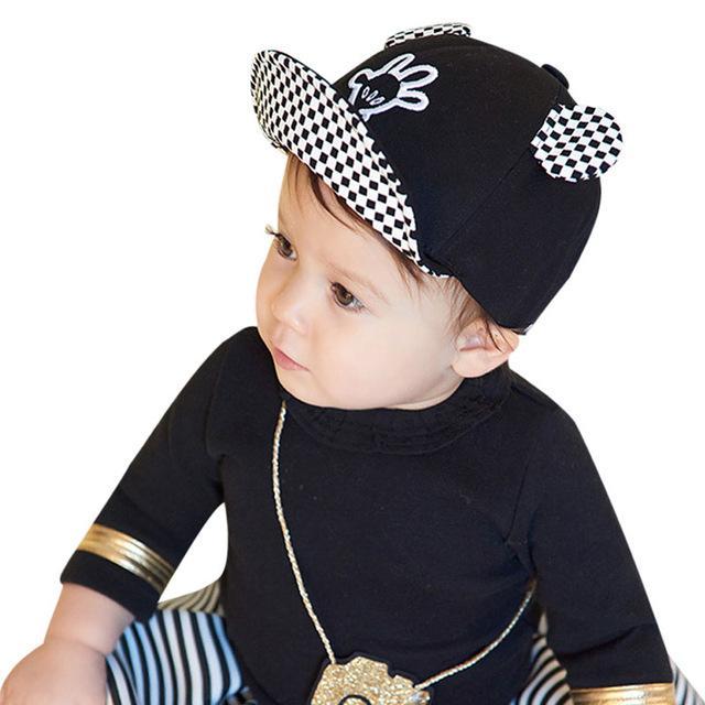 e67741aac3f Summer Baby Sun Hats Soft Brim Baseball Beret Cute Baby Cap Mice Ears  Bonnet Cotton Baby Outdoor Caps Boy Girl for 1-3Y baby