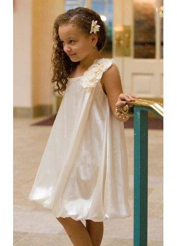 One Shoulder Bubble hem Silky Satin Flower Girl Dress