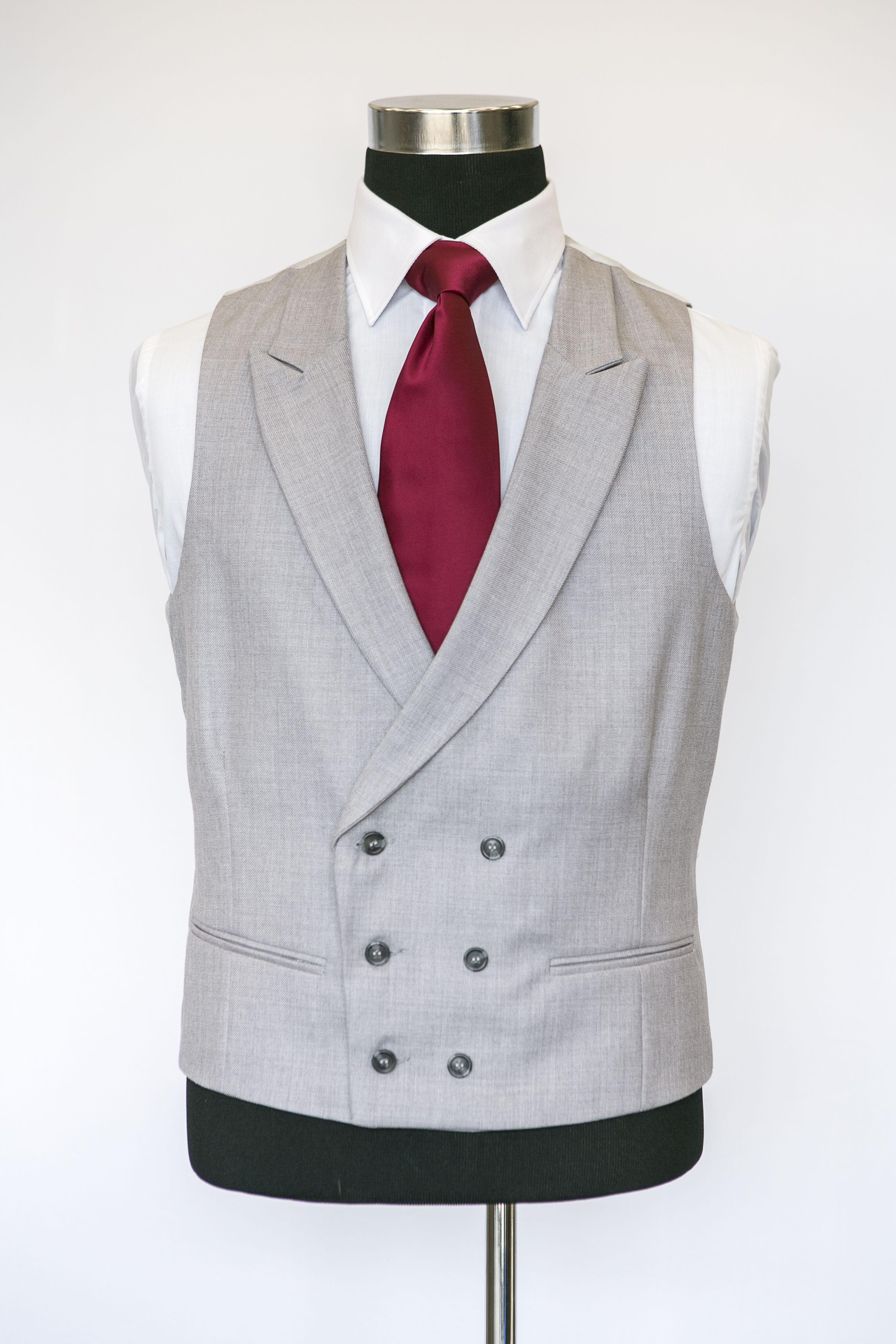 Grey Double Breasted Waistcoat With A Burgandy Tie Waistcoat Wedding Waistcoats Groom Vest