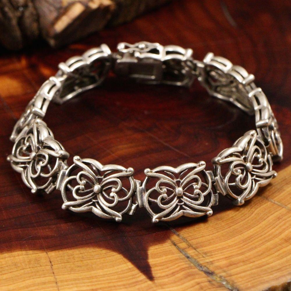 "Vintage Sterling Silver - Fancy Link Chain 31g - Bracelet (8"") GQ078"