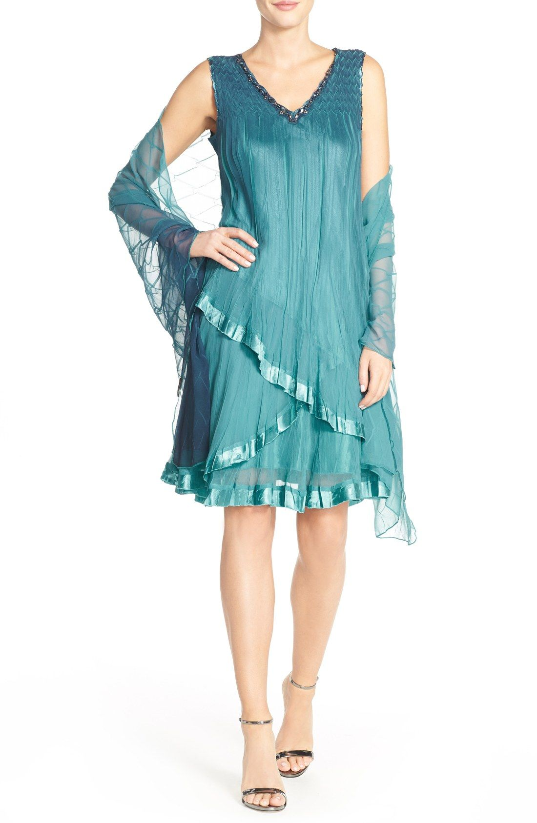 Komarov Embellished Chiffon & Charmeuse A-Line Dress with Shawl ...
