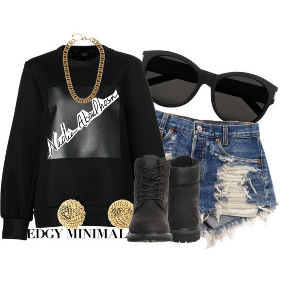 Edgy Minimalist With Nadia Aboulhosm by nenedopesauce on Polyvore featuring Alexander Wang, Levi's, Timberland, Brooks Brothers, H&M, Yves Saint Laurent, contestentry, PVCurvyChic and NadiaxBoohoo