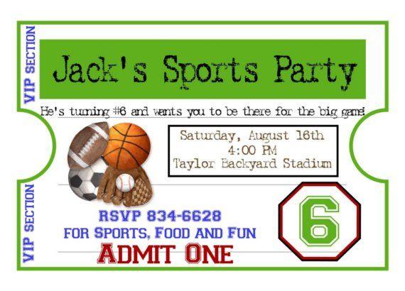 personalized sports invitations, football, basketball, soccer, Invitation templates