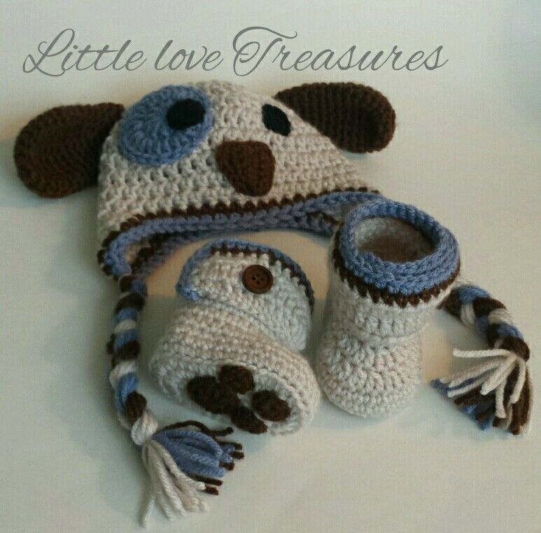 NEW Newborn Baby Boy Puppy Hat and Booties Crochet infant Photo Prop ...