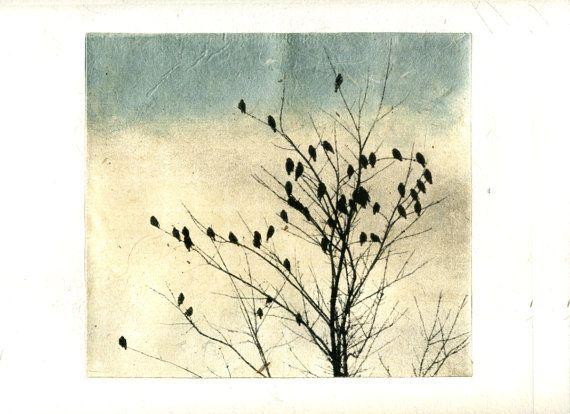 print etching, February Visit, Heart via Etsy