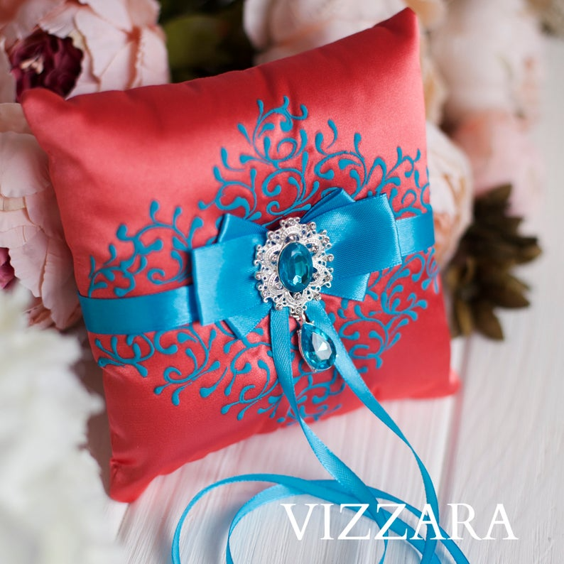 Burlap ring bearer pillow Coral wedding Cheap ring bearer pillow Coral and turquoise wedding Ring bearer pillows Turquoise and coral wedding