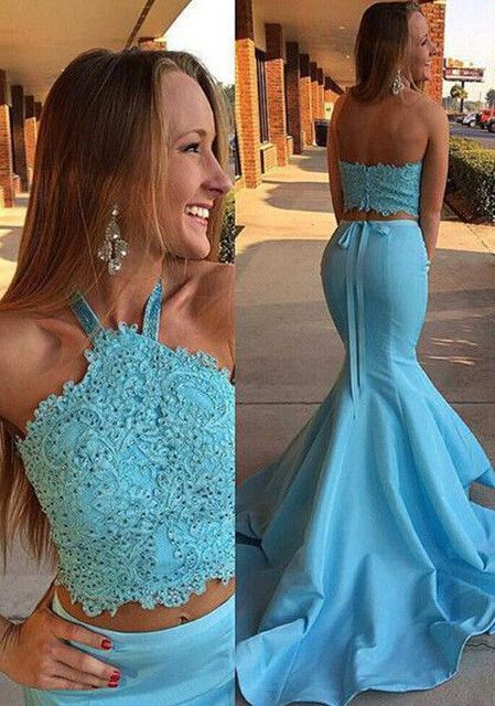 2017 Prom Dress Two Piece Prom Dress Mermaid Prom Dress Long Prom Dress Blue Prom Dress Danci Mermaid Prom Dresses Halter Prom Dresses Fitted Prom Dresses