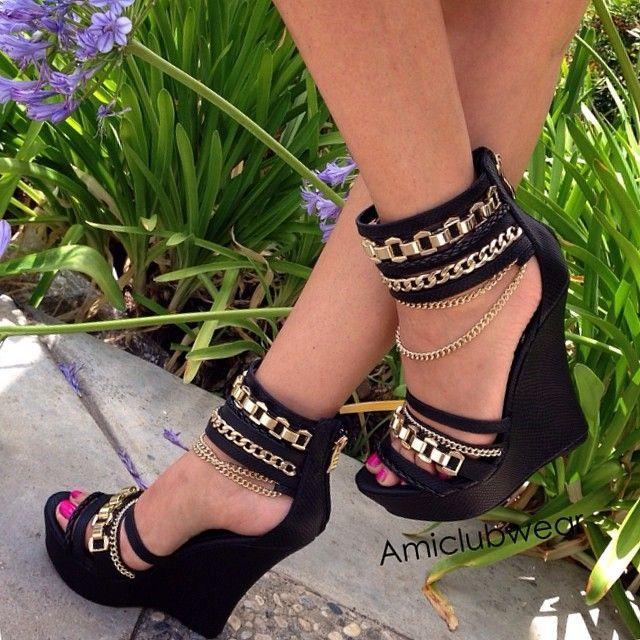 23e2eaf9bc43 Embellished black club wedges. -- 30 Ultra Trendy Wedge Sandals On The  Street - Style Estate -