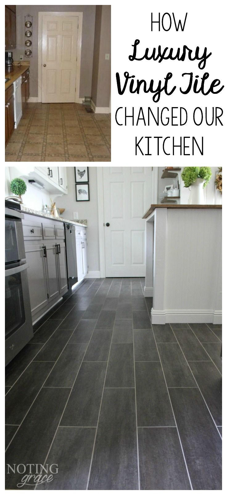 DIY Kitchen Flooring   kitchen ideas   Pinterest   Luxury vinyl tile     It took only 3 days and  400 to completely transform our kitchen with DIY  Flooring   groutable Luxury Vinyl Tile