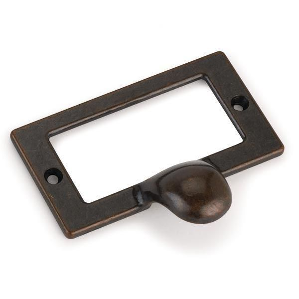 Highpoint Drawer Pull With Card Holder Dark Copper Finish With