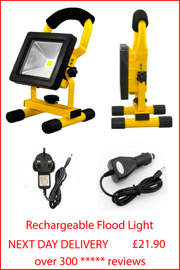 High Powered Led Rechargeable Portable Flood Light Suitable For The Workshop Or Garage Easy To Operat Security Lights Flood Lights Outdoor Lighting
