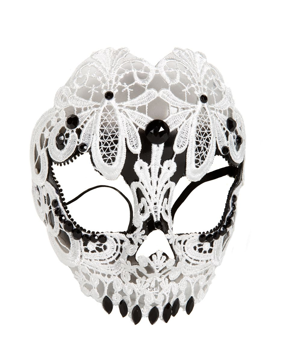 Black and White Lace Skull Mask – Spirit Halloween | costumes for ...