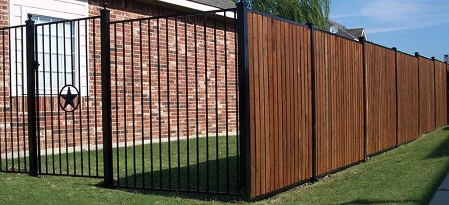 Iron Fence With Vinyl Pickets For Privacy For The Home