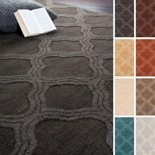 Hand Loomed Bexley Casual Solid Tone On Moroccan Trellis Wool Area Rug