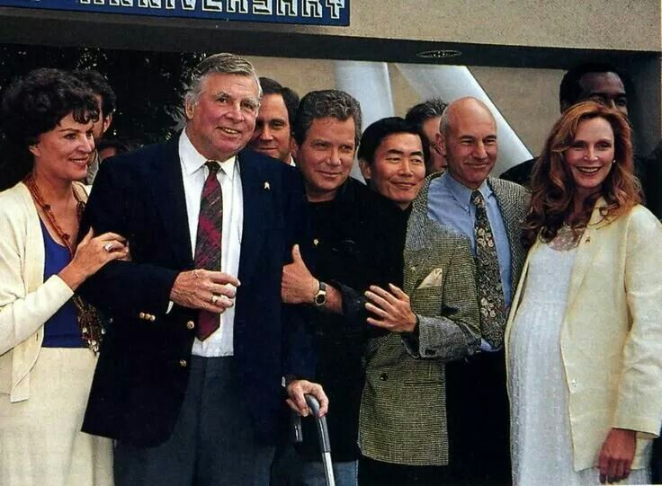 Gene Roddenberry and Majel Barrett with the TOS and TNG casts