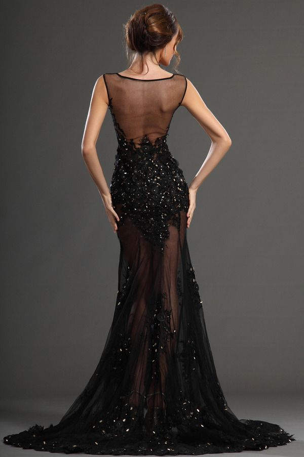 Newest Prom Dresses Black Jewel Beading Crystal Sleeveless Sheath ...