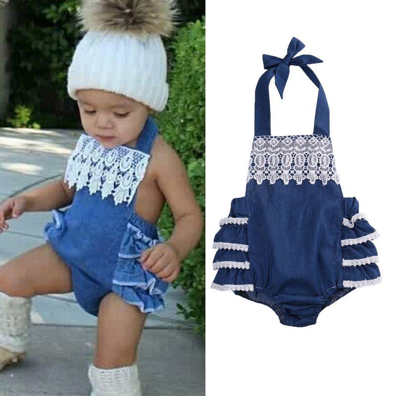 e5411ca2c1d Newborn Baby Girls Ruffles Lace Floral Bodysuit Jumpsuit Cake Denim One  Pieces Outfits Sunsuit
