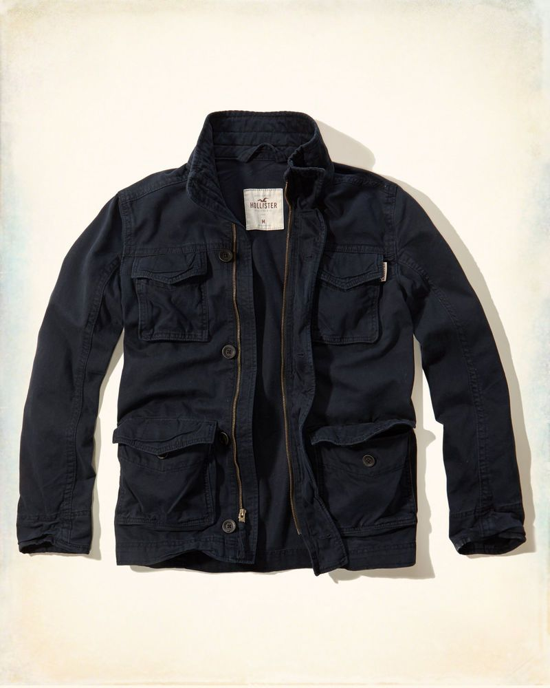 28cf119537d9c7 NWT Hollister by Abercrombie & Fitch Navy Jacket Mens Cotton Twill Cargo  Coat XL #Hollister #BasicJacket