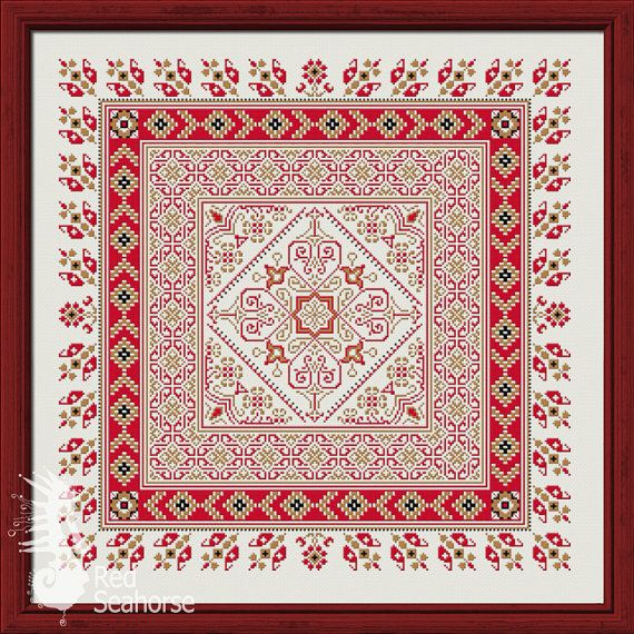 Cross stitch embroidery folk pattern with hearts by RedSeahorse ...