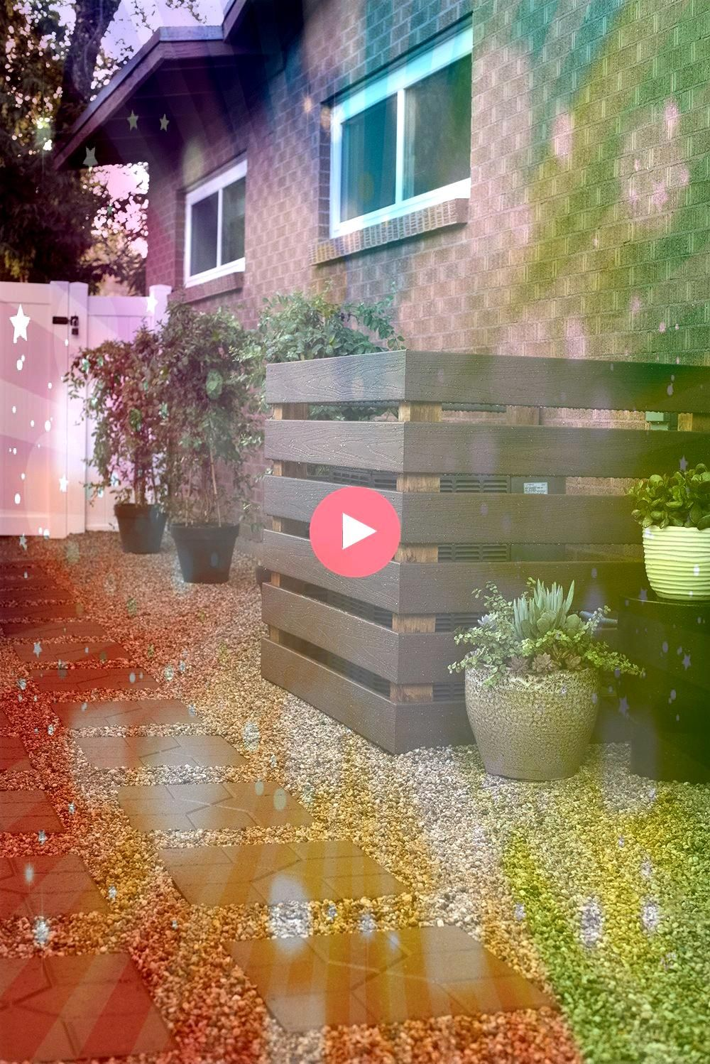 Day Project  Transforming Our Side Yard Laying Stones  Pebble Covering Air Conditioner3 Day Project  Transforming Our Side Yard Laying Stones  Pebble Covering Air Conditi...