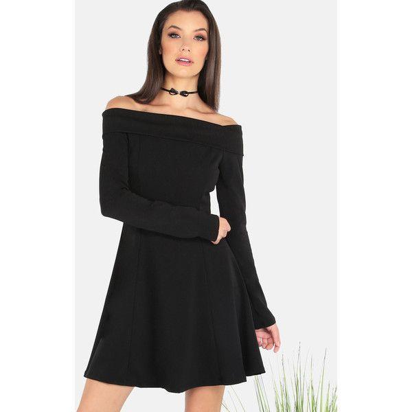 Sleeved Open Shoulder Skater Dress BLACK ($36) ❤ liked on Polyvore featuring dresses, black, circle skirt, flared skirt, long-sleeve skater dresses, zip back dress and skater skirt dress
