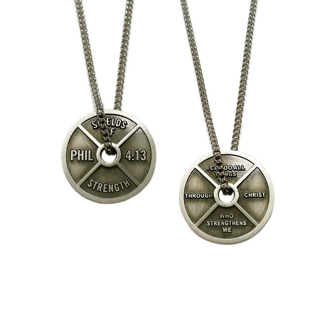 Women's Antique Finish Mini Weight Plate Necklace-Phil 4 ...