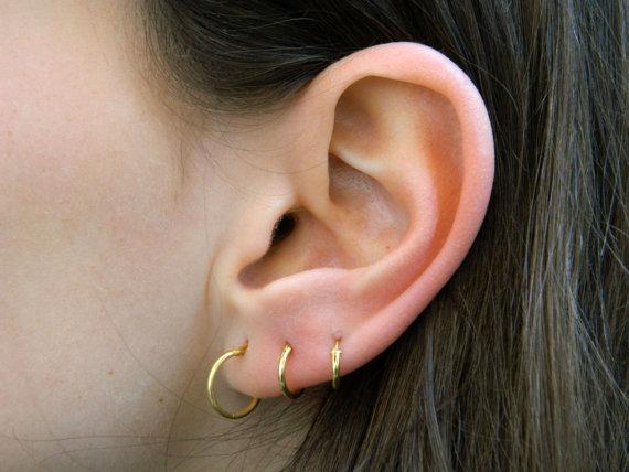 Sterling Silver Hoop Earrings Gold Plated