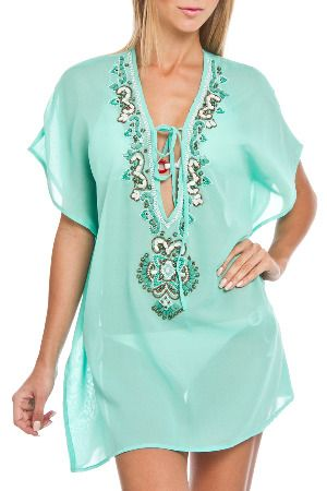 9309bdb2e6a22 SPIAGGIA DOLCE Embellished Caftan Cover Up in Seafoam Bathing Suit Cover Up