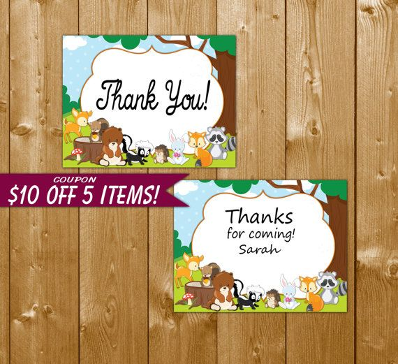 Woodland Favor Tags - Printable Baby Shower Woodland Animals Favor Tags - Instant Download