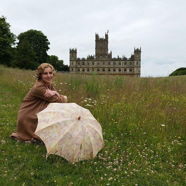 Laura Carmichael outside Highclere Castle