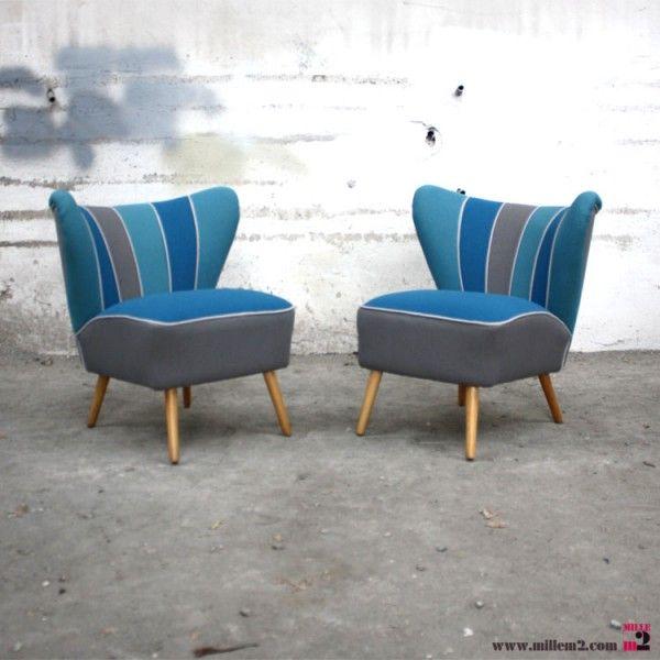 fauteuil cocktail vintage des annes 50 bleu gris - Fauteuil Cocktail Vintage