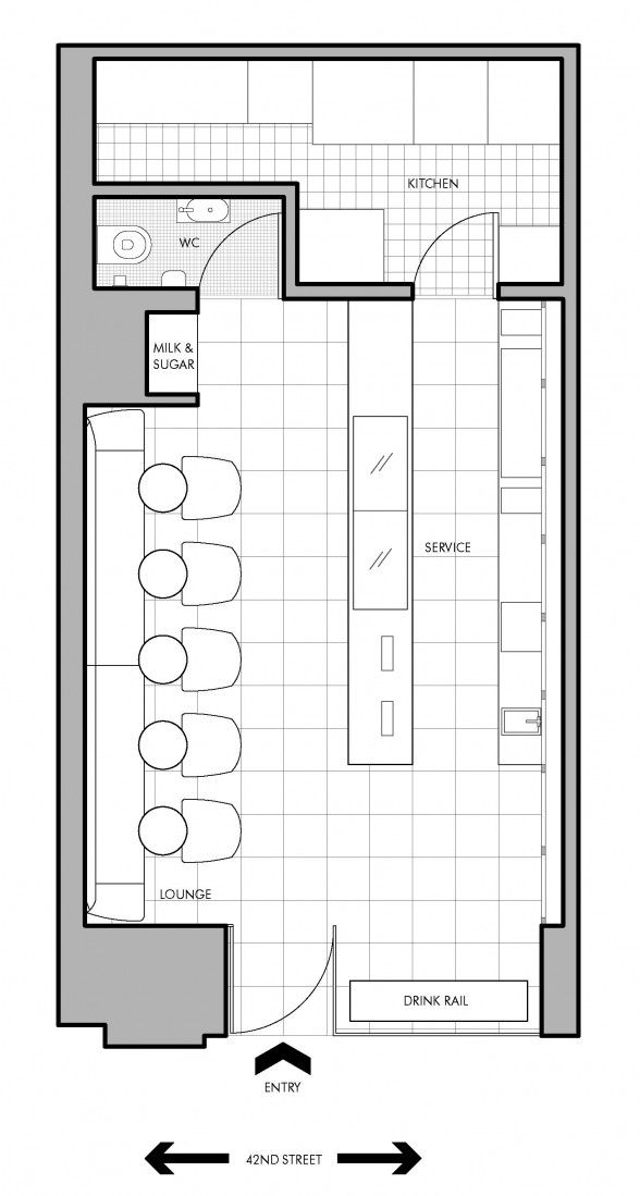 Small cafe new york floor 588 1099 espacios for Coffee shop floor plan with dimensions