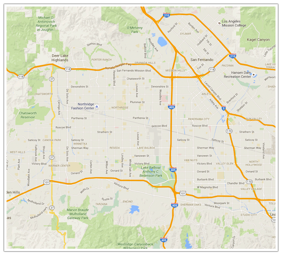 Image result for San Fernando Valley maps with cities and zip codes