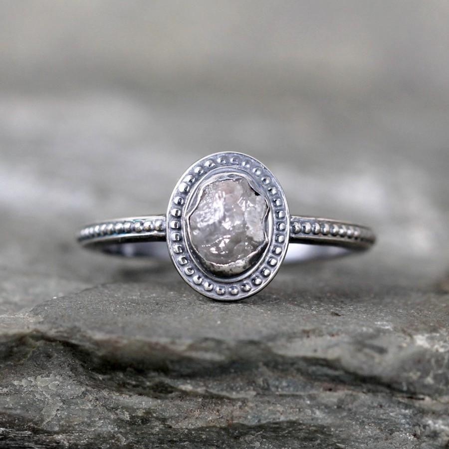 Uncut Diamond Ring Raw Rough Engagement Rings Sterling Silver Bezel Set Vintage