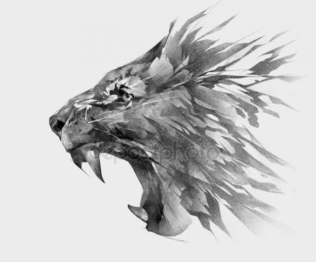 Monochrome Isolated Stylized Drawing Of Lion Face Side View Tattoos Gotink Lion Ad Lion Tattoo Lion Face Lion Art