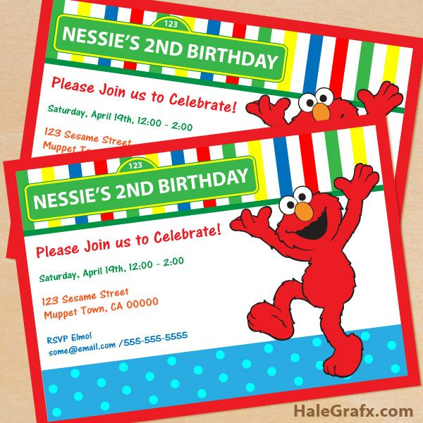 Sesame Street Elmo Invite FREE Printable Birthday Invitation