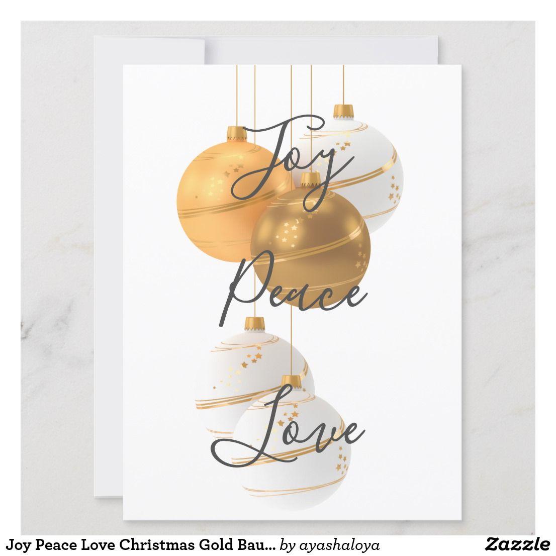 Joy Peace Love Christmas Gold Baubles Holiday Card