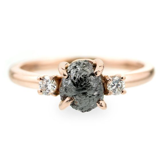 Etsy.com  F270014020         Black Uncut Diamond Engagement Ring, 1.35 Carats