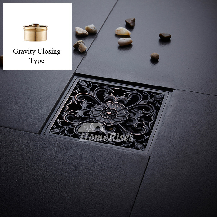 Oil Rubbed Bronze Shower Drain Carved Black Square In 2020 With
