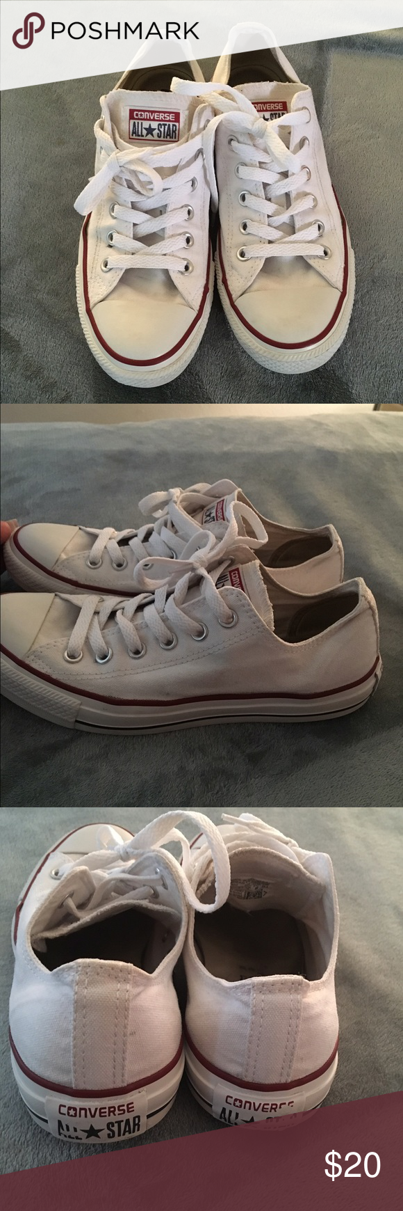 All star unisex white Converse. Men 7 women 9 These are used shoes please Ask questions before purchasing soles are intact however there are slight cracks on the sides please see photos. But still in great condition. Converse Shoes Sneakers