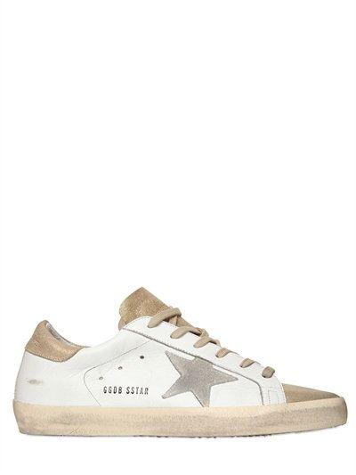 Chaussures De Sport En Cuir Métallique Superstar Oie D'or KksPD