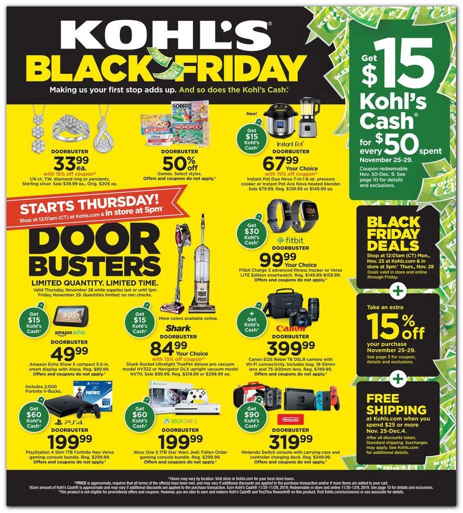 Kohl S Black Friday 2018 Ad Deals Sales Dealsplus Kohls Black Friday Black Friday Black Friday 2019