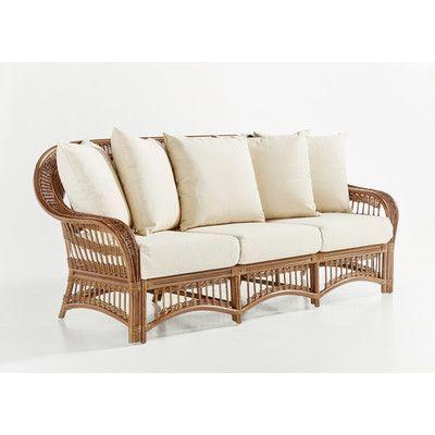 Superior South Sea Rattan Plantation Sofa With Cushion Finish: Pecan, Fabric: Sand