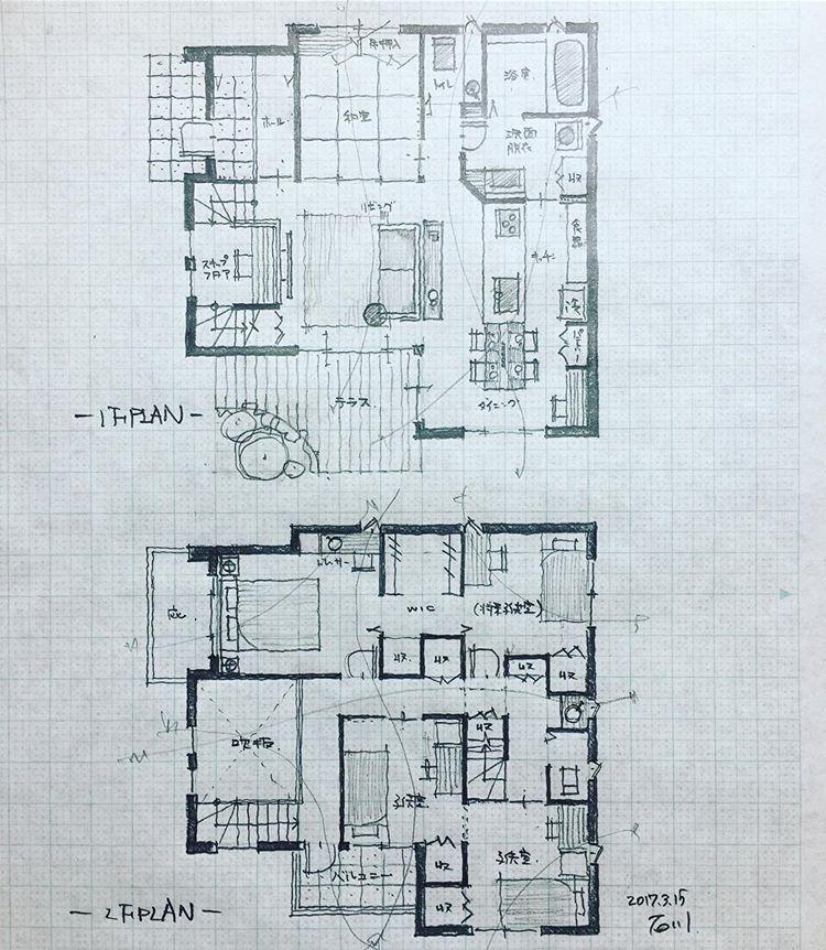 スキップフロアの家2 手描き 手書き 建築 設計 間取り 間取り図