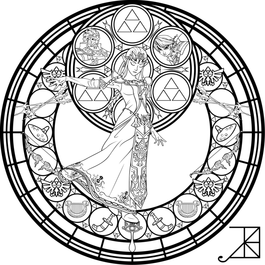 Stained glass zelda coloring page by akiliamethyst adult