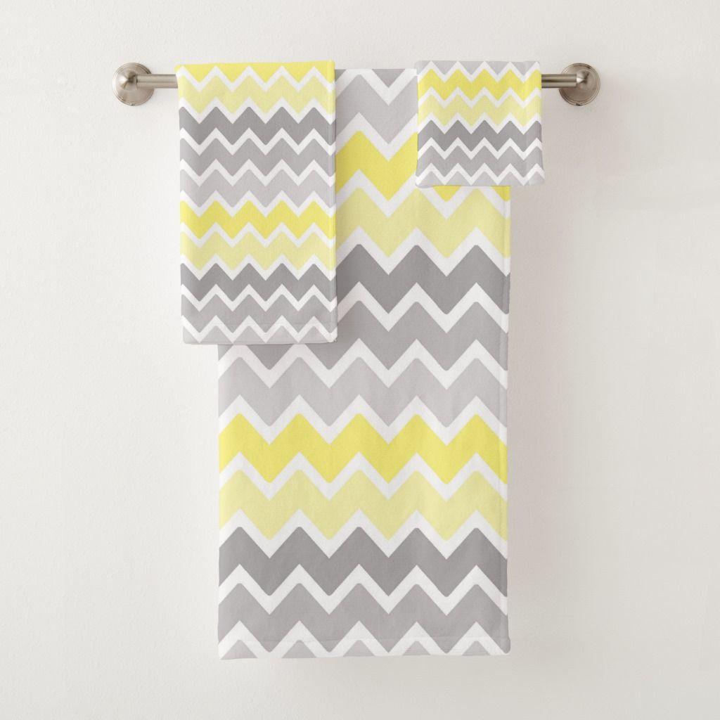Yellow Grey Gray Ombre Fade Chevron Zigzag Pattern Bath Towel Set Zazzle Com Patterned Bath Towels Yellow Bathroom Decor Towel Set