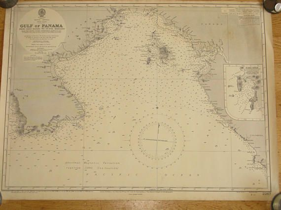 Original Vintage Marine British Admiralty Marine Nautical Chart