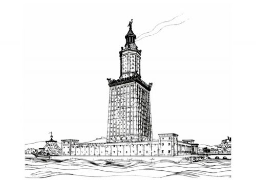 Coloring Page Lighthouse Of Alexandria Lighthouse Great Pyramid