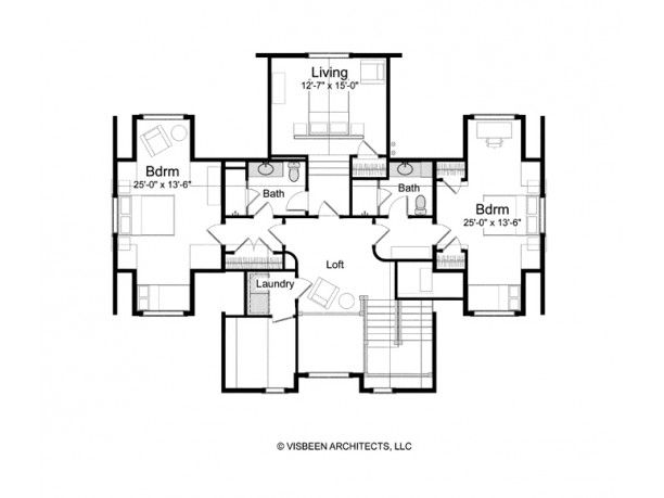 level 2 guest bedroom & living area layout - can lock off each guest